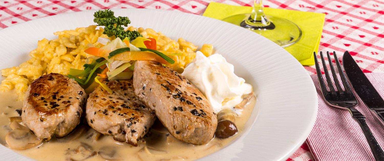 Speisekarte Gaststätte Freiland, Schweinefilet mit Pilzrahmsoße